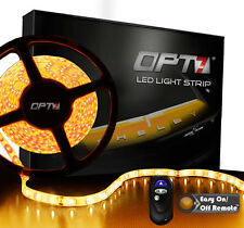 OPT7 16ft Amber LED Light Strips w/ REMOTE 300 SMD Bright Yellow Flexible 12v