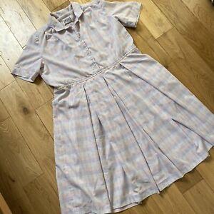 Eastex Lilac Pastel Check Retro 50s Diner Uniform Day Dress Size 18