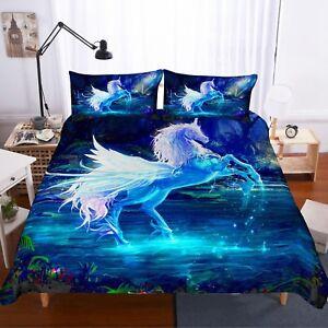 3D Flying Unicorn Bedding Set Duvet Cover Comforter Cover Pillow Case