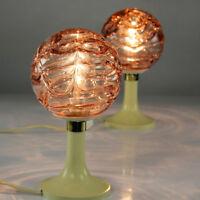 Doria Nacht Tisch Lampen Rosa Glas Kugeln auf Tulpen Trompeten Fuß 60er 70er