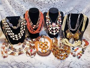 22 Piece Vintage/Modern Warm Tones Mixed Beaded Necklace Lot - Sarah Coventry