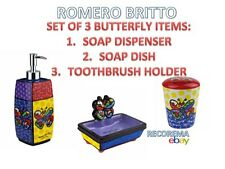 ROMERO BRITTO A SET OF SOAP DISPENSER & DISH AND TOOTHBRUSH HOLDER: BUTTERFLY