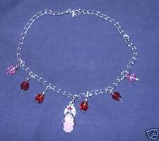 PRETTY ANKLET WITH ENAMELLED FLIPFLOP & BEAD DROPS