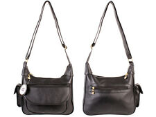 WOMEN'S NEW FAUX LEATHER SHOULDER BAG ORGANISER BLACK EXTRA COMPARTMENTS