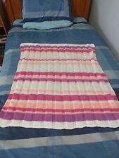 **SALE** Baby Blanket - HANDMADE Knitted Crochet - PINK PURPLE WHITE