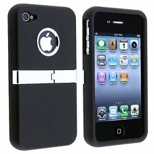 Deluxe Rubberized Case with Chrome Kickstand for iPhone 4 /4S - Black