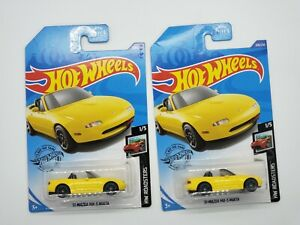 2020 Hot Wheels '91 Mazda Mx-5 Miata #208 Yellow Lot Of 2