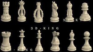 12 Pcs 3D STL Model CHESS 2 DIFFERENT SETS  for CNC Aspire Artcam 3D Printer