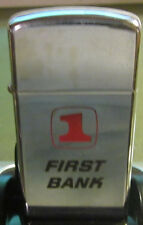Vintage 1968 ZIPPO LIGHTER  FIRST BANK LOGO Advertising Excellent