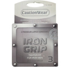 Iron Grip Tighter Fit Silicone Lubricated Thin Layered Latex Male Condoms 3pk