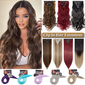 CLEARANCE Clip In Hair Extensions Long Soft 100% Real as Human Ombre Hairpiece