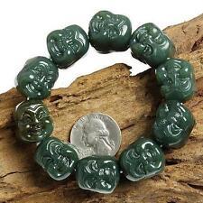 Hand Carved Celadon Jade Nephrite Buddha Beads Bracelet
