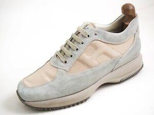 Hogan Sneakers Gray Suede Beige Canvas Men Shoe Size US 10 EU 43 $520