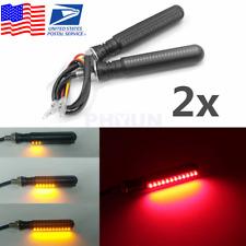 2x Motorcycle LED Flowing Turn Signal Indicator + Red Brake Flash Light US Ship