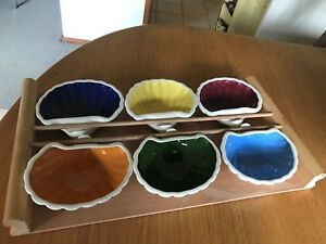 Vintage Diana (?) Harlequin Clam Dishes on a Wooden Tray