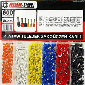 Set Kit terminali a crimpare puntalini boccole isolanti filo cavi elettrici 600p