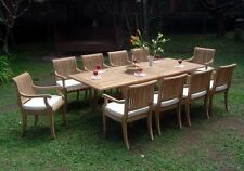 """Giva 9-pc Outdoor Teak Dining Set: 94"""" Rectangle Extension Table, 8 Arm Chairs"""