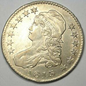 1813 Capped Bust Half Dollar 50C - AU Details - Rare Date Coin - Nice Luster!