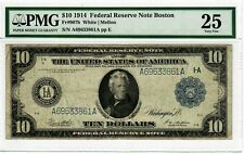 1914 $10 Boston Fr#907b FRN PMG VF-25 Rare Antique Large Size US Currency #9004