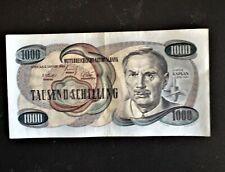 SEHR selten1000 Schilling Banknote fast bankfrisch Ausgabetag 02.01.1961 Kaplan