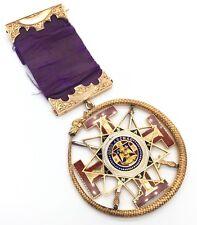 Masonic 33rd Degree 18K Solid Gold Jewel Medal W/ Enamel Rev. Hagey 1867 Merge
