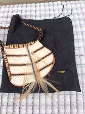 Authentic FENDI Goat Hair TRIBAL OYSTER HOBO BAG Suede Purse Handbag