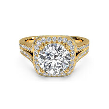 Ring 14K Real Yellow Gold Rings 1.24 Ct Round Cut Bridal Diamond Engagement