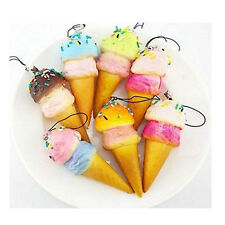 Soft Squishy Colorful Ice Cream Pendant Cell phone Charms Kawaii With Strap Accs