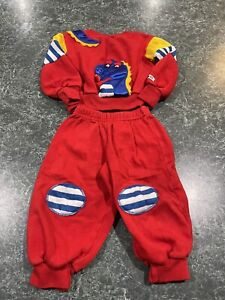 Vintage 80s Joggles Red Dinosaur Lizard Sweatsuit Toddler Size 2T *VERY RARE*