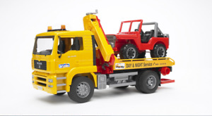 MAN TGS Tow Truck Loader w/ Off-Road Vehicle Jeep Bruder Toy Car Model 1/16 1:16