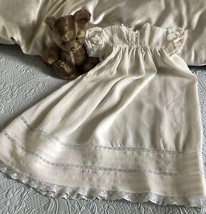 Antique Vintage Cream Long Baby Dress, Puff Sleeves, Lace & Tucks, Gorgeous