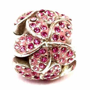 NWOT Brighton GLITZ Flower Floral PINK Crystals Bead Charm Spacer RARE MSRP $41
