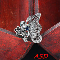 Vintage Black Butterfly Wings Flower Crystal Antique Silver Ring Wedding Jewelry
