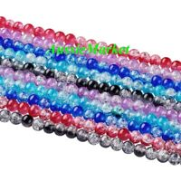 50 x Glass loose beads crackled crackle mixed colours round 8mm crafts jewellery