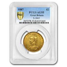 1887 Great Britain Gold 2 Pounds Victoria AU-55 PCGS