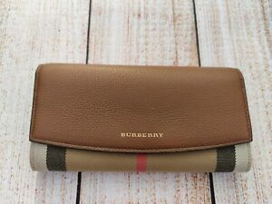 NEW Authentic Burberry House Check and Leather Women wallet Brown