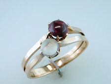 Vintage Antique Garnet & Moonstone 14K Yellow Gold Victorian Cocktail Ring