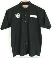 Jesse James Work Wear Mens L Black S/S Button Front Shirt West Coast Choppers