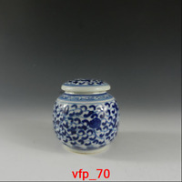 old China antique Blue and white Twining lotus pattern Tea Caddy