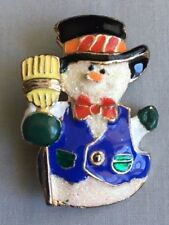 Holiday Snowman Multi-color Enamel Pin Brooch - Gold tone