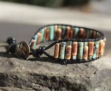 Men's African Turquoise Beaded Black Leather Cuff Wrap Bracelet NEW