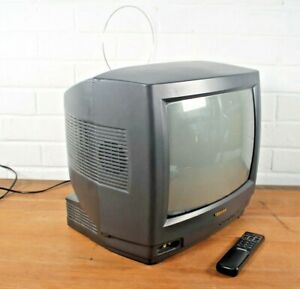 "Vintage Toshiba 14"" Portable Colour CRT Cube TV With Remote Retro Gaming 1450RB"