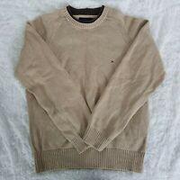 Tommy Hilfiger Mens size Medium Tan Brown Flag Logo Crew Neck Sweater