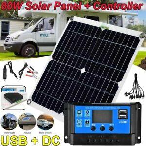 Solarmodul 12V 80W Solarpanel Solarzelle USB Batterie Ladegerät für Auto Boot