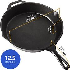 Pre Seasoned Cast Iron Skillet Pan Non Stick 12 Inches Kitchen Cookware Cooking