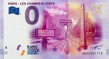 BILLET 0 ZERO EURO SOUVENIR TOURISTIQUE PARIS  CHAMPS ELYSEES N° SPECIAUX 2016