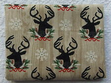 NEW & HTF Maker's Holiday Fabric STAG DEER HEAD WOODGRAIN *100% Cotton FQ*