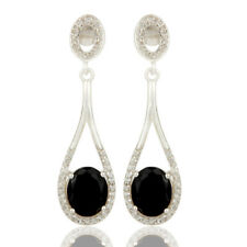 925 Silver Black Onyx Gemstone Fashion Dangle Earrings Handmade Jewelry