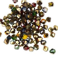 5490 Bead Glass Multi & Gold 1/2 Coat PK100 Bicone *UK EBAY SHOP*
