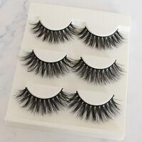 3 Pairs Natural Fashion Handmade Real Mink 3D False Eyelashes Thick Long Lashes